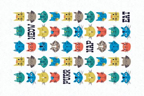 Nine Lives - Cat Tea Towel fabric by heatherdutton on Spoonflower - custom fabric