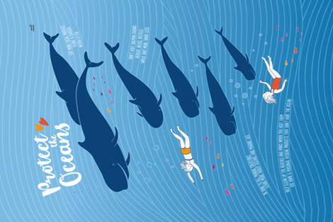 Protect the Oceans fabric by sweet_designs_nz on Spoonflower - custom fabric