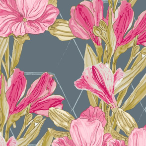 Lilies Vertical Repeat on Grey