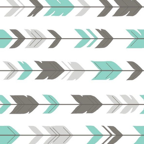 Arrow Feathers - light teal and grey ROT