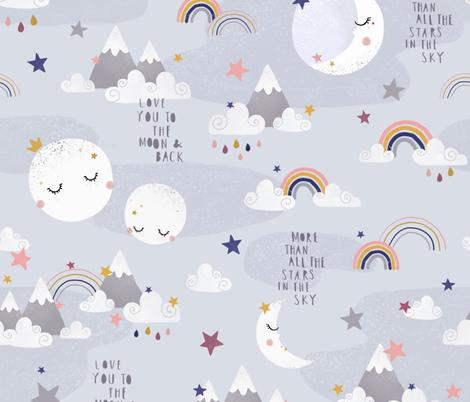 Love you to the moon and back - grey fabric by ewa_brzozowska on Spoonflower - custom fabric