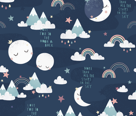 Love you to the moon and back - navy blue fabric by ewa_brzozowska on Spoonflower - custom fabric