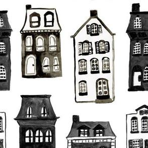 Mansard Mansions in Black + White Watercolor