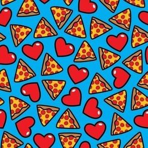 aloha pizza with hearts on blue