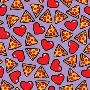 aloha pizza with hearts on light grape