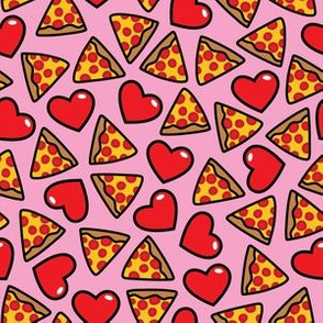 aloha pizza with hearts on pink