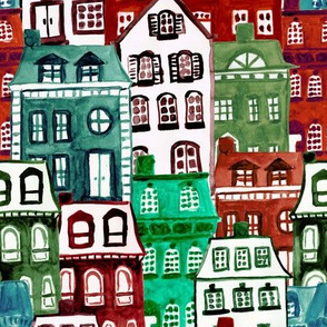 Christmas Village in Watercolor Red + Green