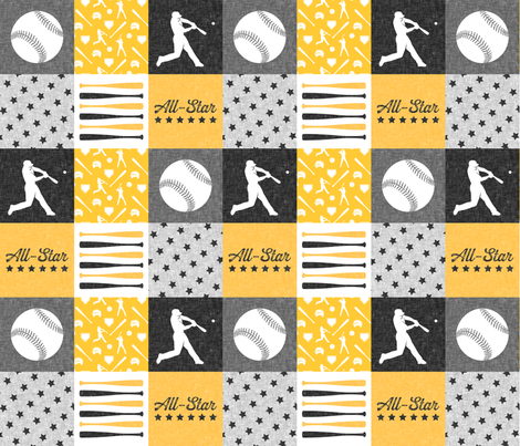 All-star - black and gold-  baseball patchwork wholecloth C18BS fabric by littlearrowdesign on Spoonflower - custom fabric