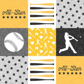 All-star - black and gold-  baseball patchwork wholecloth C18BS