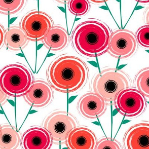 Mid Century Modern Poppy Flowers