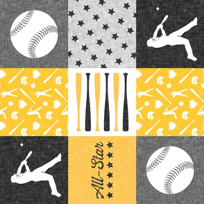 All-star - black and gold-  baseball patchwork wholecloth (90) C18BS