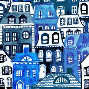 Mansard Village in Blue Watercolor
