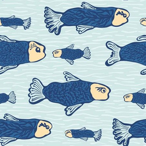 Blue Shoal of Fish, Seamless Seaweed Animal Vector Pattern Background