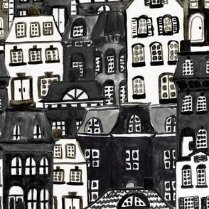 Mansard Village in Black + White Watercolor
