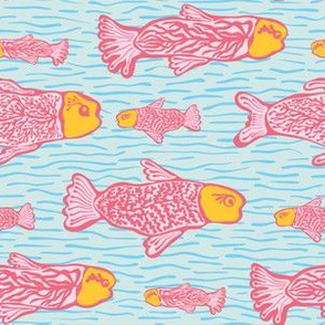 Pastel Shoal of Fish, Seamless Seaweed Animal Vector Pattern Background