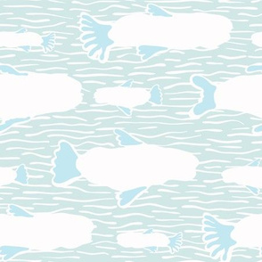 White Fish Silhouette, Seamless Seaweed Animal Vector Pattern Background
