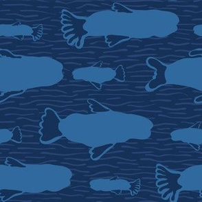 Blue Fish Silhouette, Seamless Seaweed Animal Vector Pattern Background