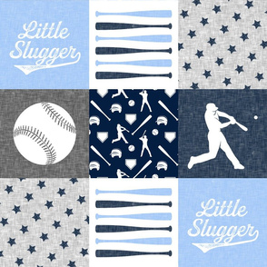 Little Slugger - blue, navy and grey -  baseball patchwork wholecloth C18BS