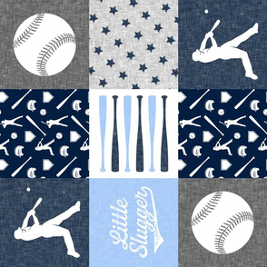 Little Slugger - blue, navy and grey -  baseball patchwork wholecloth C18BS (90)
