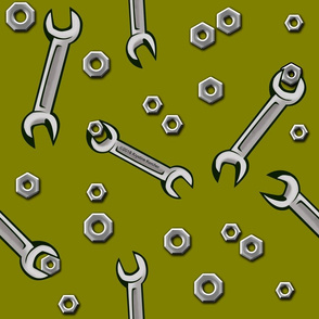 Nuts and Wrenches on Olive Green