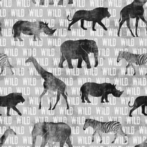 wild safari - grey - animals