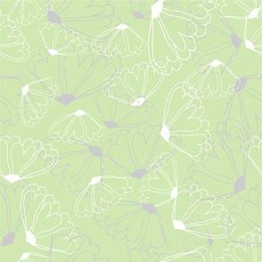 Pastel Floral Line Green