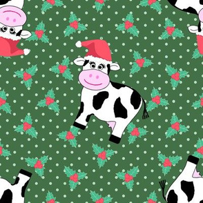 Christmas Cows and Holly