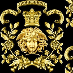 3 versace inspired medusa gold flowers floral leaves leaf crown baroque victorian coat of arms clover heraldry crest black banners rococo royalty frames motto gorgons Greek Greece mythology