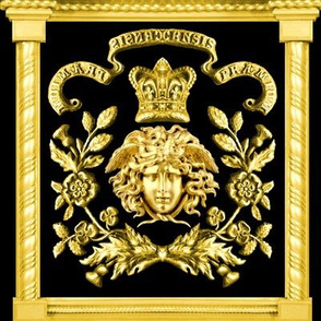 1 versace inspired medusa gold flowers floral leaves leaf crown baroque victorian coat of arms clover heraldry crest  banners motto black royalty roman pillars rococo frames gorgons Greek Greece mythology