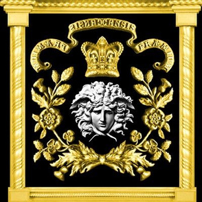 2 versace inspired medusa gold white marble flowers floral leaves leaf crown baroque victorian coat of arms clover heraldry crest black royalty roman pillars banners motto rococo frames gorgons Greek Greece mythology