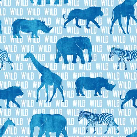 wild safari - blue - animals  fabric by littlearrowdesign on Spoonflower - custom fabric