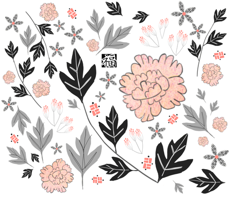 pretty peony flower fabric by mariegrace on Spoonflower - custom fabric