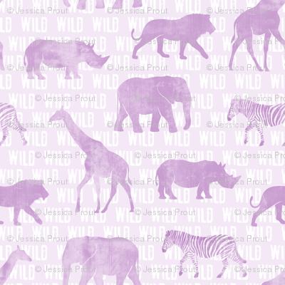 wild safari - light purple - animals