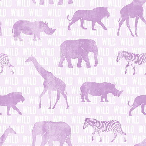 wild safari - light purple - animals  fabric by littlearrowdesign on Spoonflower - custom fabric