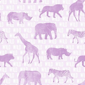 wild safari - light purple - animals