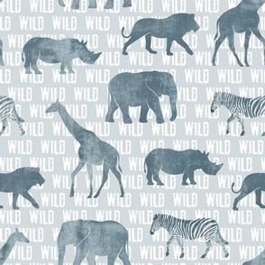 wild safari - dusty blue - animals