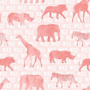 wild safari - pink - animals