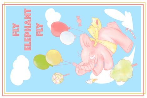Elephant Tea Towel fabric by candice_kim on Spoonflower - custom fabric