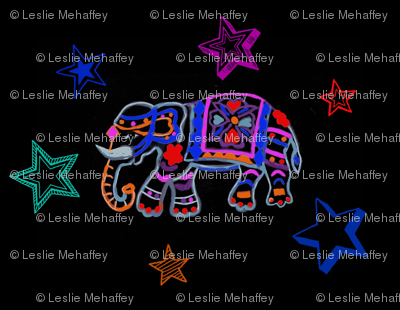 Elephant lino cut in multi colors with Stars
