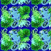 tissu lezard bleu