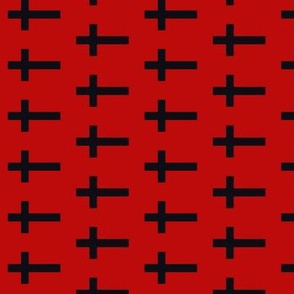 Black Crosses on Deep Blood Red