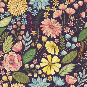 bright flowers on the dark background