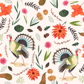 Thanksgiving Turkeys  // orange & brown floral leaves little girls fabric
