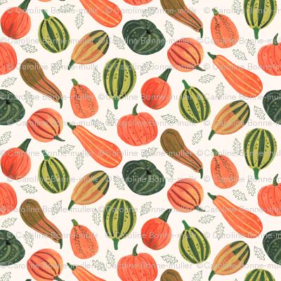 Thanksgiving & Halloween Pumpkin patch  // orange & green leaves little girls fabric