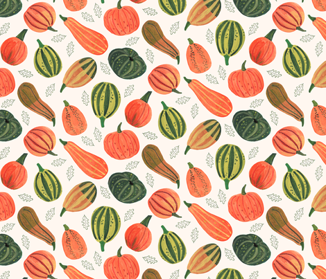 Thanksgiving & Halloween Pumpkin patch  // orange & green leaves little girls fabric fabric by caroline_bonne_muller on Spoonflower - custom fabric