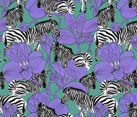 zebras violet fabric by torysevas on Spoonflower - custom fabric
