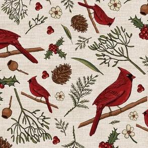 Cardinal christmas on linen