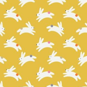 Rabbits on yellow