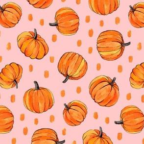 Little Pumpkins & Dots Painted in Orange Gouache on Millennial Pink