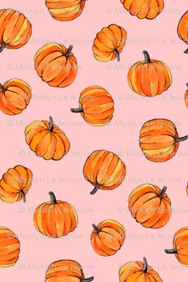 Little Pumpkins Painted in Orange Gouache on Millennial Pink
